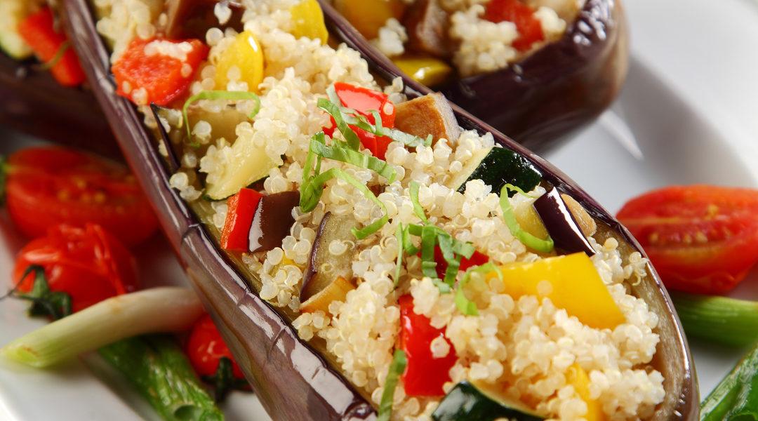 Geroosterde aubergine met quinoa